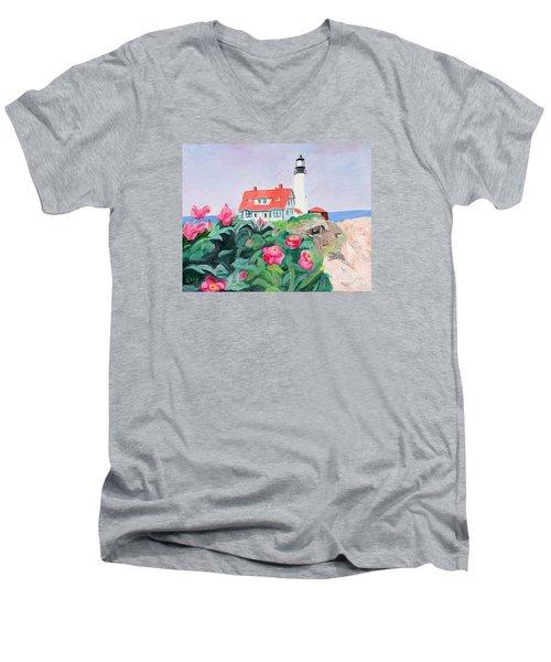 Roses At Portland Headlight Men's V-Neck T-Shirt