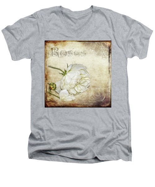 Men's V-Neck T-Shirt featuring the photograph Roses by Carolyn Marshall