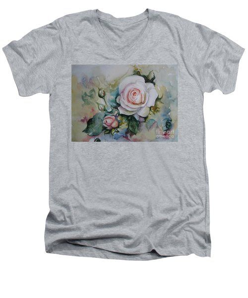 Men's V-Neck T-Shirt featuring the painting Roses by Elena Oleniuc