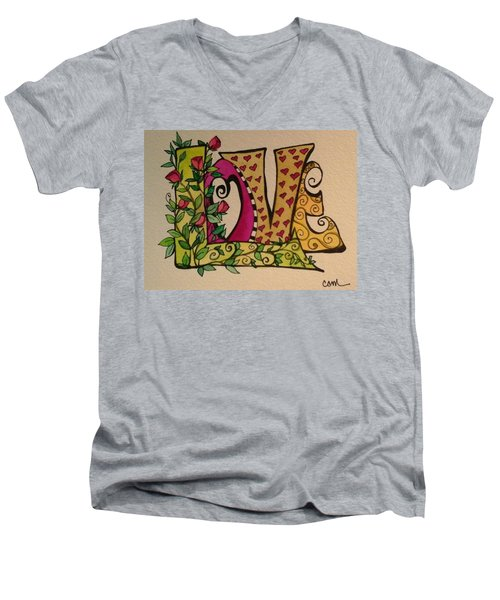 Roses For You Men's V-Neck T-Shirt by Claudia Cole Meek
