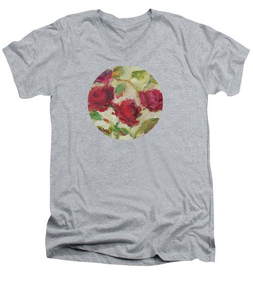 Men's V-Neck T-Shirt featuring the painting Roses by Mary Wolf