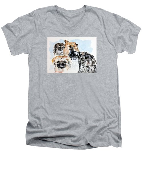 Men's V-Neck T-Shirt featuring the painting Rose's Pekingese by Stan Tenney