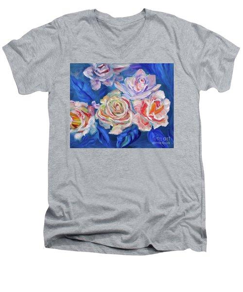 Roses, Roses On Blue Men's V-Neck T-Shirt