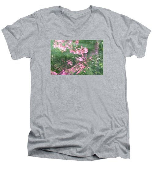 Men's V-Neck T-Shirt featuring the photograph Rosey Ripples by Linda Geiger