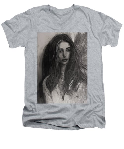 Men's V-Neck T-Shirt featuring the painting Rosie Huntington-whiteley by Jarko Aka Lui Grande