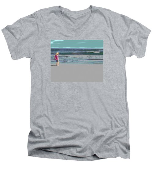 Men's V-Neck T-Shirt featuring the digital art Rosie On The Beach by Walter Chamberlain