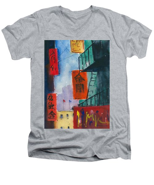 Ross Alley, Chinatown Men's V-Neck T-Shirt by Tom Simmons