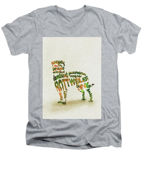 Men's V-Neck T-Shirt featuring the painting Rottweiler Dog Watercolor Painting / Typographic Art by Ayse and Deniz