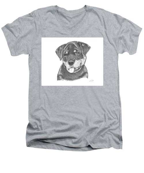 Rottweiler Puppy- Chloe Men's V-Neck T-Shirt by Patricia Hiltz