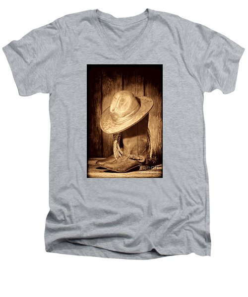 Rough Rider Men's V-Neck T-Shirt by American West Legend By Olivier Le Queinec