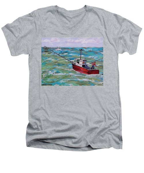 Rough Sea Men's V-Neck T-Shirt by Mike Caitham