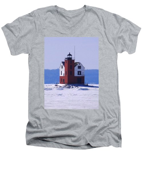Round Island 2 Men's V-Neck T-Shirt by Keith Stokes