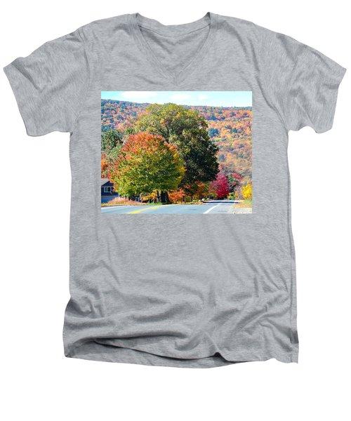 Men's V-Neck T-Shirt featuring the photograph Route 66 Autumn Drive by Sven Kielhorn