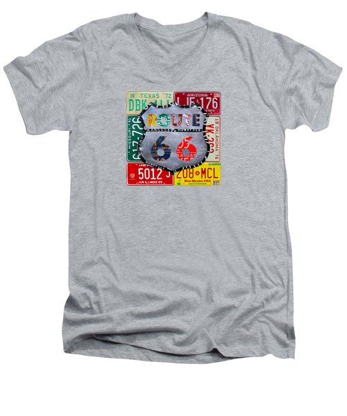 Route 66 Highway Road Sign License Plate Art Men's V-Neck T-Shirt by Design Turnpike