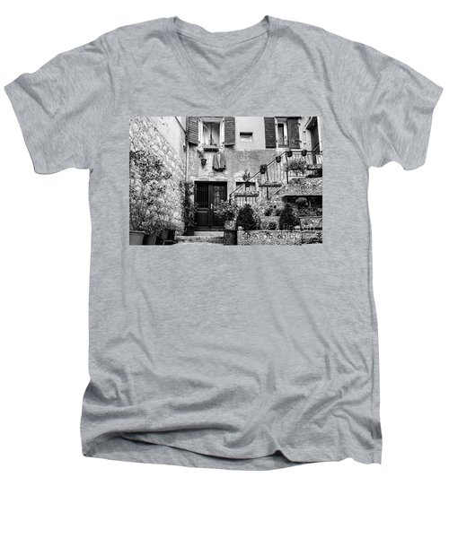 Rovinj Old Town Courtyard In Black And White, Rovinj Croatia Men's V-Neck T-Shirt