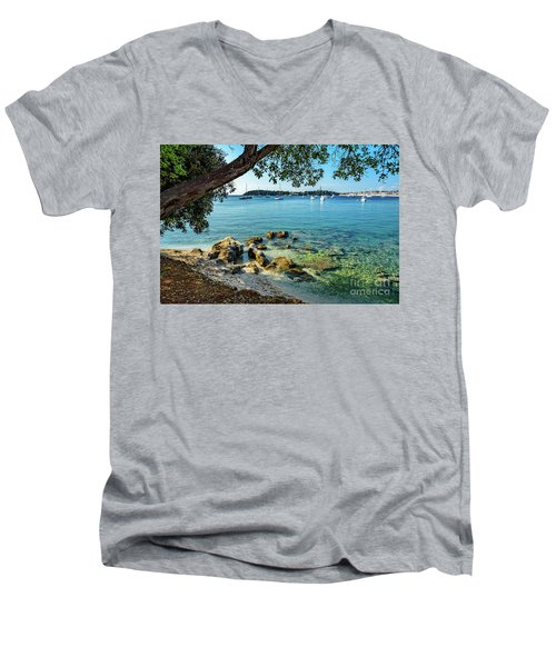 Rovinj Old Town, Harbor And Sailboats Accross The Adriatic Through The Trees Men's V-Neck T-Shirt