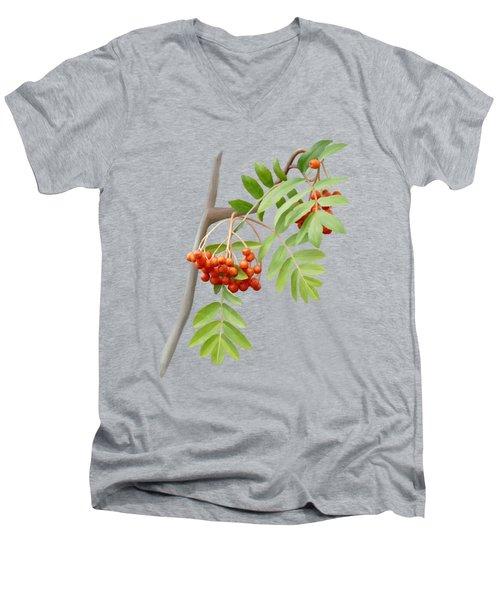 Men's V-Neck T-Shirt featuring the painting Rowan Tree by Ivana Westin