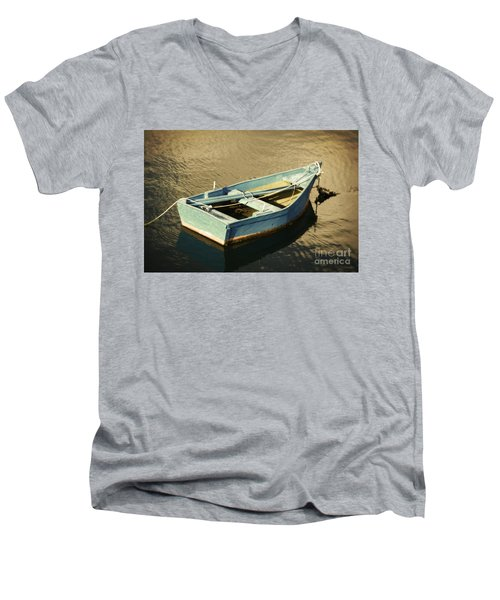 Rowboat At Twilight Men's V-Neck T-Shirt by Mary Machare