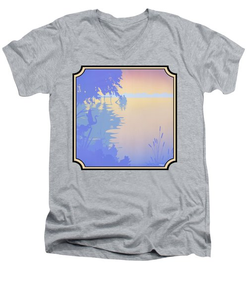 Rowing Back To The Boat Dock At Sunset Abstract Men's V-Neck T-Shirt