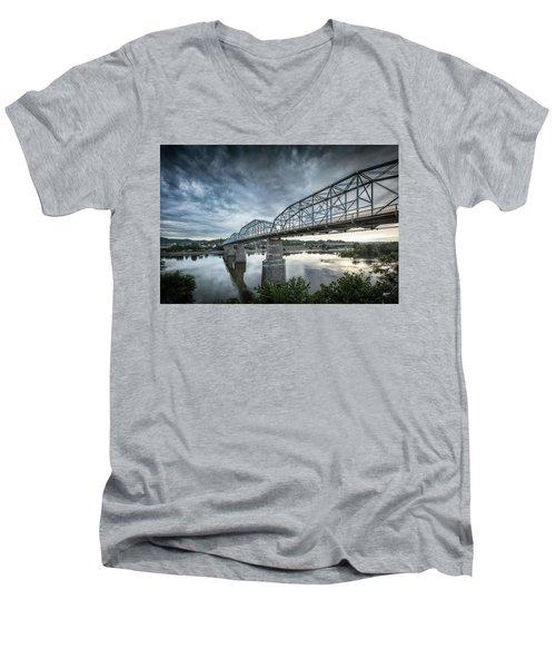 Rowing Under Walnut Street Men's V-Neck T-Shirt by Steven Llorca