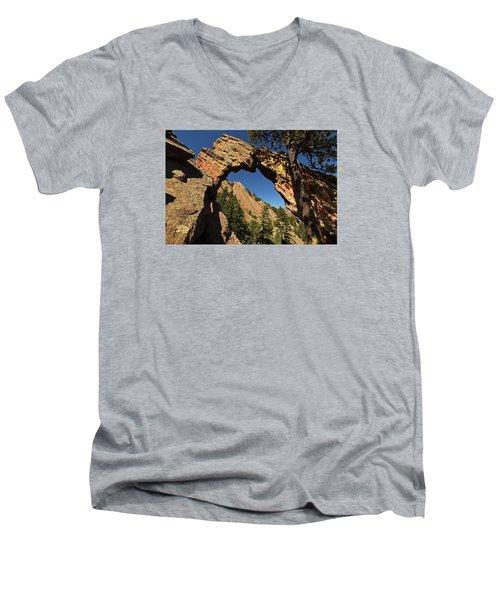 Royal Arch Trail Arch Boulder Colorado Men's V-Neck T-Shirt