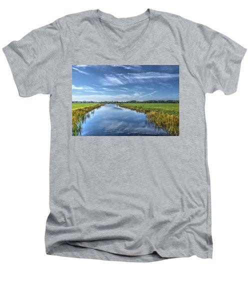Royal Canal And Grasslands Men's V-Neck T-Shirt