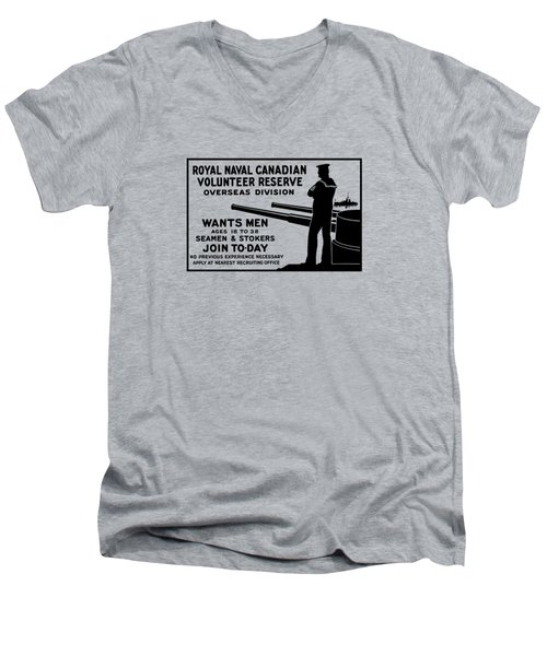 Men's V-Neck T-Shirt featuring the mixed media Royal Naval Canadian Volunteer Reserve by War Is Hell Store