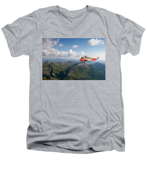 Men's V-Neck T-Shirt featuring the digital art Royal Navy Sar Sea King by Pat Speirs
