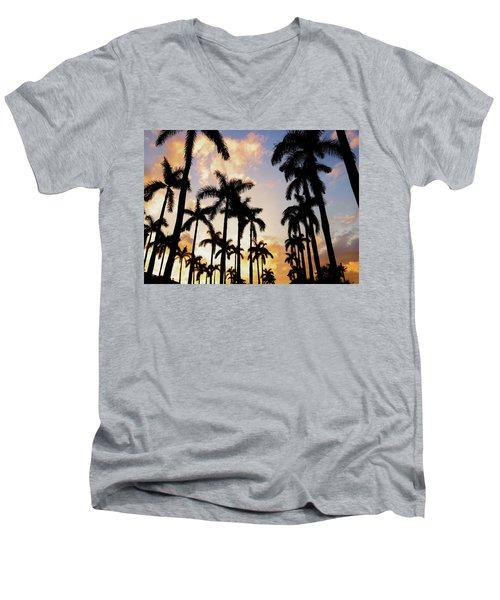 Royal Palm Way Men's V-Neck T-Shirt by Josy Cue