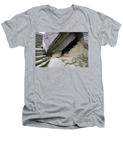 Men's V-Neck T-Shirt featuring the photograph Royal Tomb, Machu Picchu, Peru by Aidan Moran