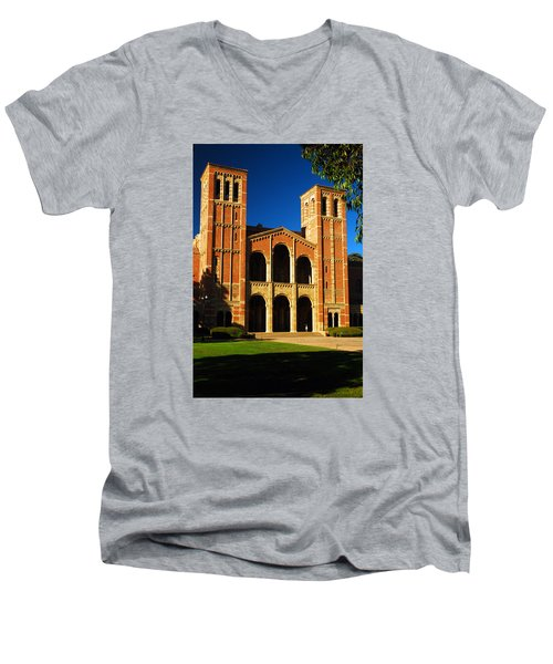 Royce Hall Ucla Men's V-Neck T-Shirt by James Kirkikis