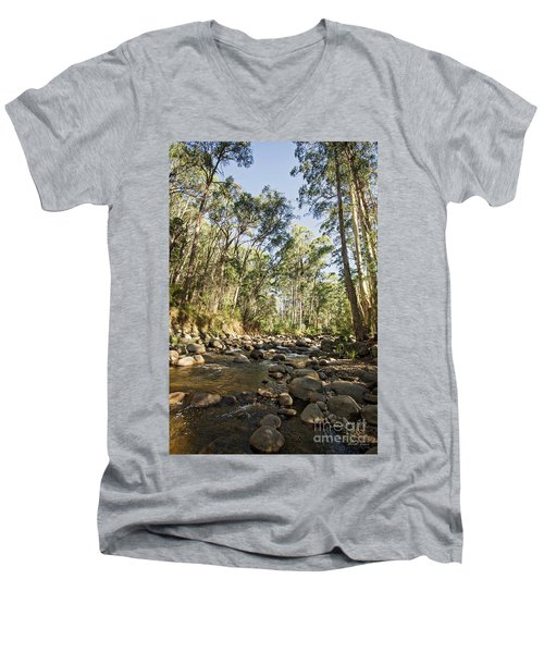 Men's V-Neck T-Shirt featuring the photograph Rubicon River by Linda Lees