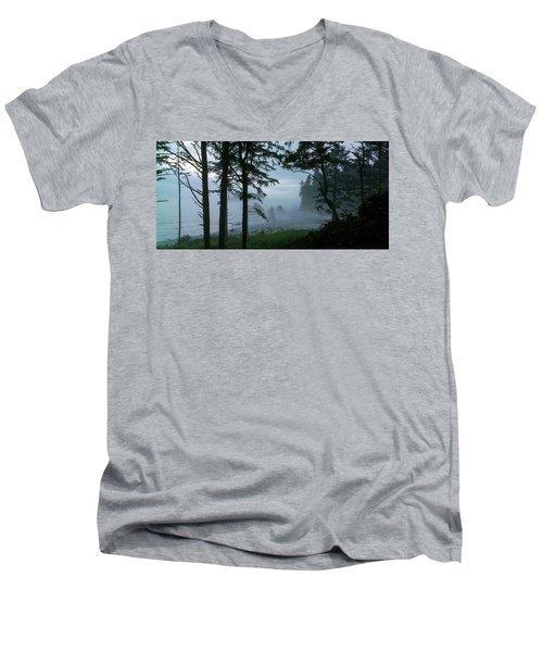 Ruby Beach II Washington State Men's V-Neck T-Shirt by Greg Reed