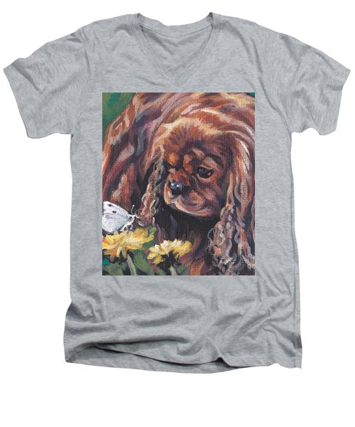 Men's V-Neck T-Shirt featuring the painting Ruby Cavalier King Charles Spaniel by Lee Ann Shepard