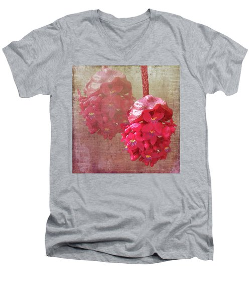 Ruby Colored Orchid Men's V-Neck T-Shirt