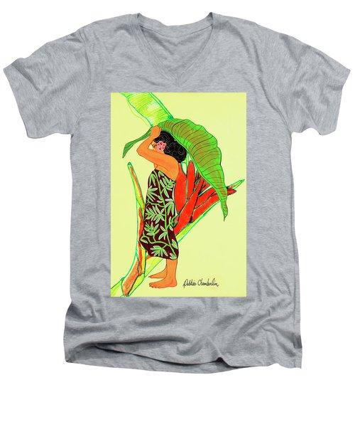 Ruby Palmtree Men's V-Neck T-Shirt