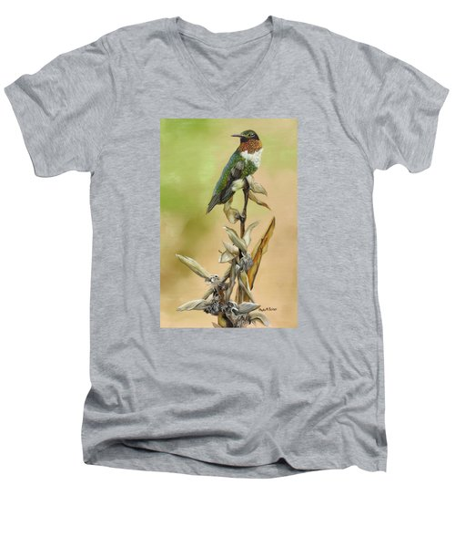Men's V-Neck T-Shirt featuring the painting Ruby Throated Hummingbird Study by Phyllis Beiser