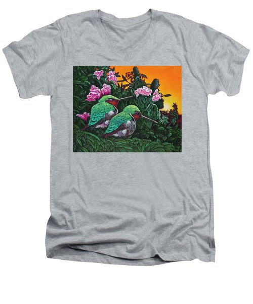 Ruby-throated Hummingbirds Men's V-Neck T-Shirt