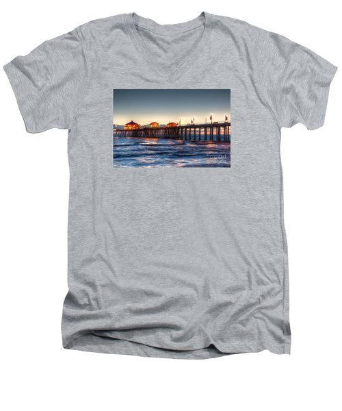 Ruby's Surf City Diner At Twilight - Huntington Beach Pier Men's V-Neck T-Shirt by Jim Carrell