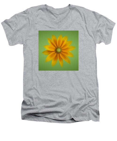 Men's V-Neck T-Shirt featuring the photograph Rudbeckia Blossom Irish Eyes - Square by Patti Deters