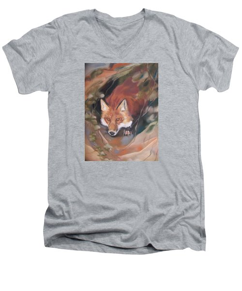 Rudy Adult Men's V-Neck T-Shirt by Marika Evanson