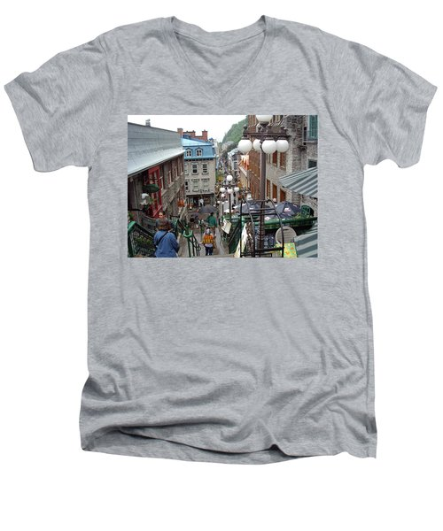 Men's V-Neck T-Shirt featuring the photograph rue du Petit Champlain by John Schneider
