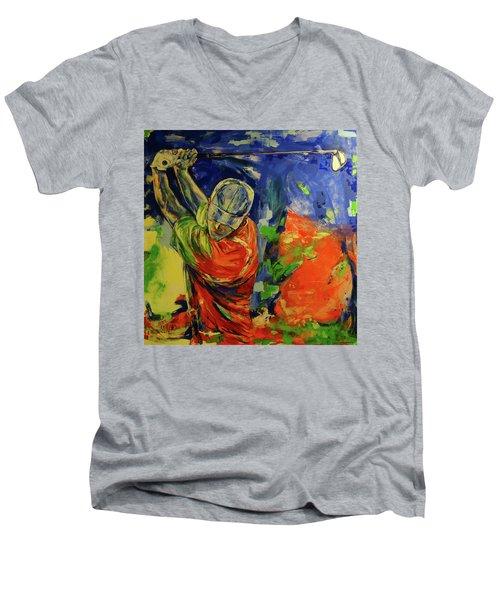 Rueckschwung   Backswing Men's V-Neck T-Shirt by Koro Arandia
