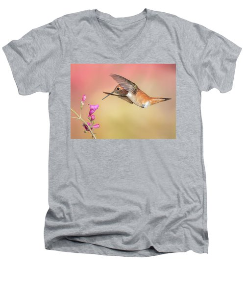 Rufous Hummingbird With Penstemon Men's V-Neck T-Shirt