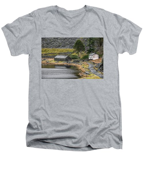 Men's V-Neck T-Shirt featuring the photograph Ruins At Cwmorthin by Adrian Evans
