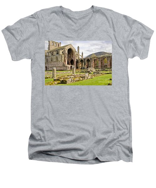 Ruins. Melrose Abbey. Men's V-Neck T-Shirt