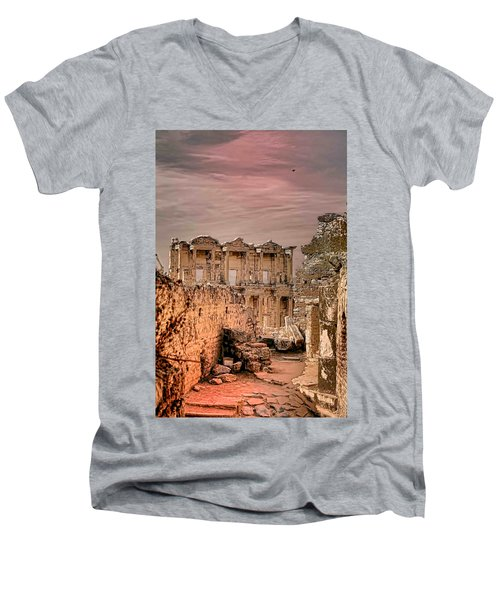 Ruins Of Ephesus Men's V-Neck T-Shirt by Tom Prendergast