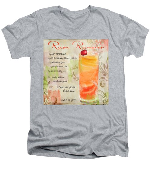 Rum Runner Mixed Cocktail Recipe Sign Men's V-Neck T-Shirt by Mindy Sommers