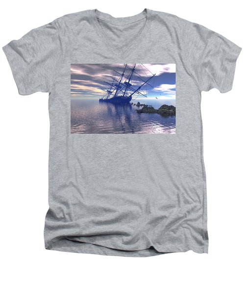 Run Aground Men's V-Neck T-Shirt by Claude McCoy