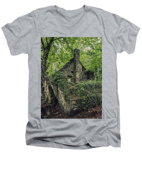 Men's V-Neck T-Shirt featuring the photograph Run Down Mill by Nick Bywater